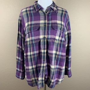 Chaps Plaid Button Down Top